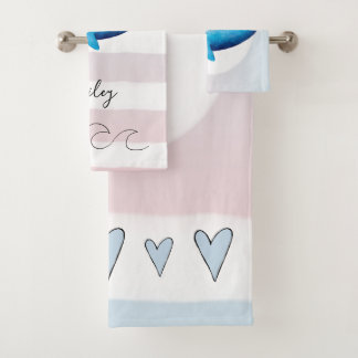 Baby Girl Watercolor Whale Princess Ocean Name Bath Towel Set