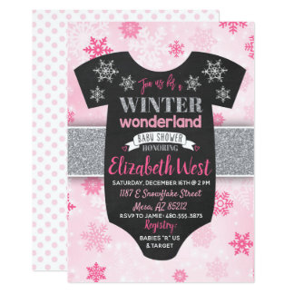 Baby Girl Winter Wonderland Baby Shower Invitation