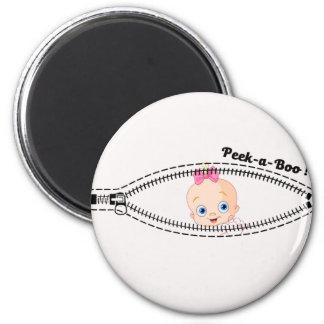 baby girl zip 2 inch round magnet