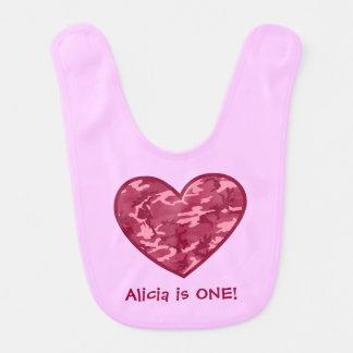 Baby Girl's 1st Birthday Gift Pink Camo Heart Bib
