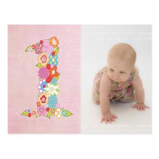 Baby Girl's 1st Birthday Thank You Photo Postcard