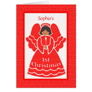 Baby Girls 1st Christmas Ethnic Angel Custom Name Card