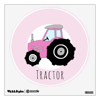 Baby Girl's Doodle Pink Farm Tractor Car Nursery Wall Sticker