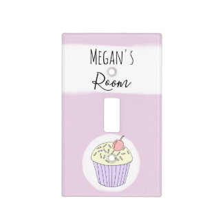 Baby Girl's Doodle Whimsical Cupcake Nursery Light Switch Cover