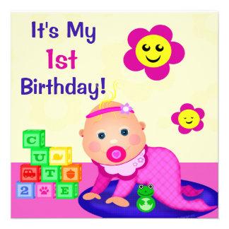 Baby Girl's First Birthday Custom Text Invitation