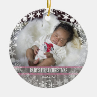 Baby girls First Christmas Round Ceramic Ornament
