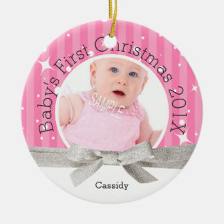 Baby Girl's First Christmas Round Ceramic Ornament