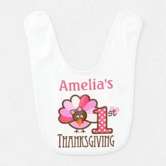 Baby Girl's First Thanksgiving Bib Personalized
