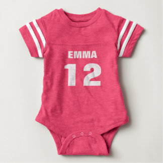 Baby Girls Name And Number Football Baby Bodysuit