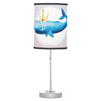 Baby Girl's Ombre Watercolor Whale Name Nursery Table Lamp