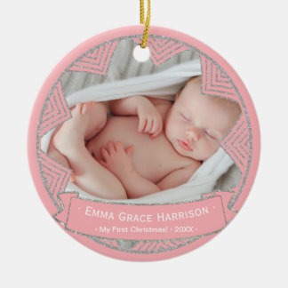 Baby Girls Pink Blush Personalized Christmas Photo Ceramic Ornament