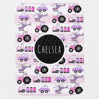 Baby Girl's Pink Car Transport Pattern & Name Baby Blanket