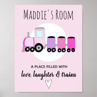 Baby Girl's Pink Locomotive Train Name Nursery Poster