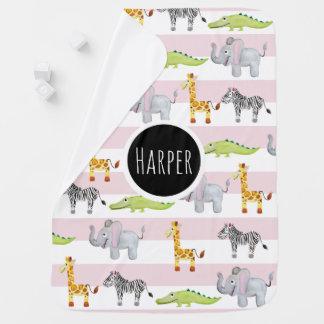 Baby Girl's Pink Striped Safari Animal with Name Baby Blanket