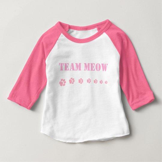 """Baby Girls' Pink """"Team Meow"""" Raglan Shirt"""