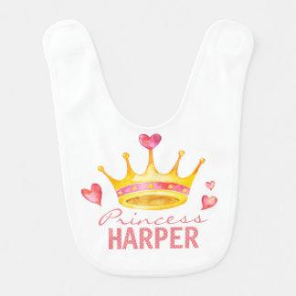 Baby Girls Princess Tiara | Custom Name Monogram Bib