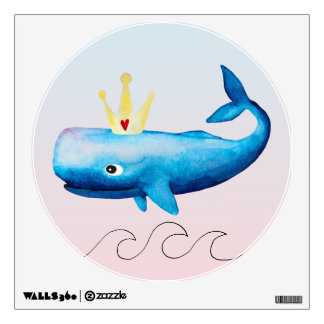 Baby Girl's Princess Whale Ocean Sea Animal Waves Wall Sticker