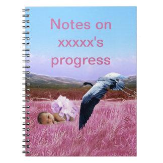 Baby girls progress notes spiral note books