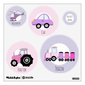 Baby Girl's Purple and Pink Transportation Nursery Wall Sticker