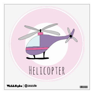 Baby Girl's Purple Helicopter Aircraft Nursery Wall Sticker
