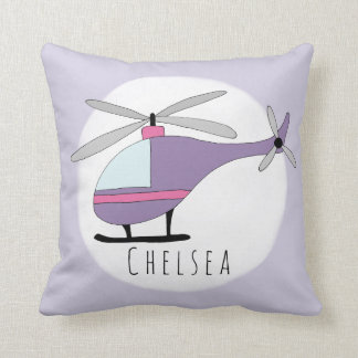 Baby Girl's Purple Helicopter Name Nursery Throw Pillow