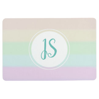 Baby Girl's Rainbow Color Pastel Monogram Nursery Floor Mat