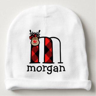 Baby Girls Reindeer Christmas Hat Plaid monogram m Baby Beanie