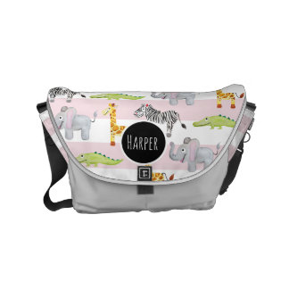Baby Girl's Striped Safari Animal with Name Diaper Courier Bag