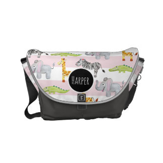 Baby Girl's Striped Safari Animal with Name Diaper Messenger Bag