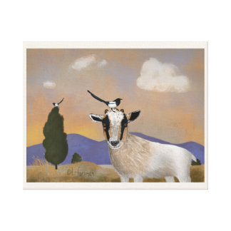 Baby goat with magpie friends painting canvas print