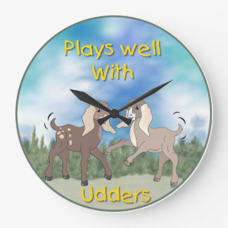 Baby Goats Plays Well with Udders Wall Clock