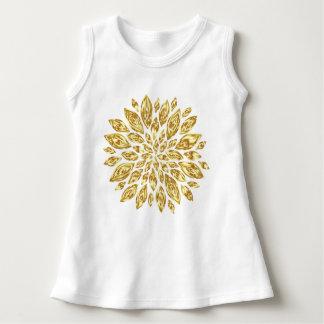 Baby Gold Flower Design Sleeveless Dress