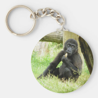 Baby Gorilla Snacking Keychain
