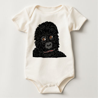 baby gorilla with gorilla paw on back baby bodysuit