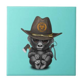 Baby Gorilla Zombie Hunter Ceramic Tile