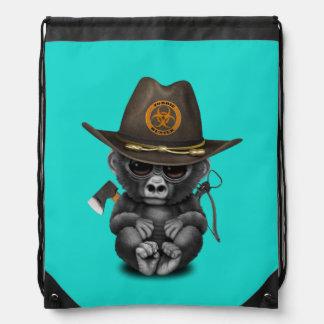 Baby Gorilla Zombie Hunter Drawstring Bag