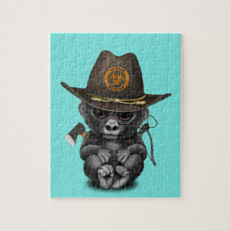 Baby Gorilla Zombie Hunter Jigsaw Puzzle