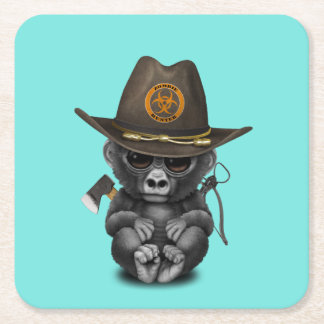 Baby Gorilla Zombie Hunter Square Paper Coaster