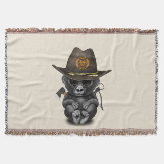 Baby Gorilla Zombie Hunter Throw Blanket