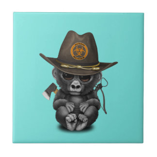 Baby Gorilla Zombie Hunter Tile