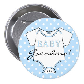 Baby Grandma Blue With White Dots 3 Inch Round Button