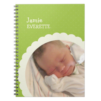 Baby green dot scallop circle custom photo journal