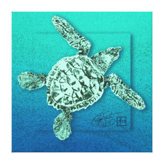 Baby Green Sea Turtle in Green Stretched Canvas Print