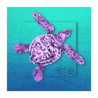 Baby Green Sea Turtle in Violet Stretched Canvas Print