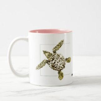 Baby Green Sea Turtle Two-Tone Coffee Mug