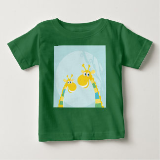 Baby green T-Shirt with LOVE GIRAFFES YELLOW