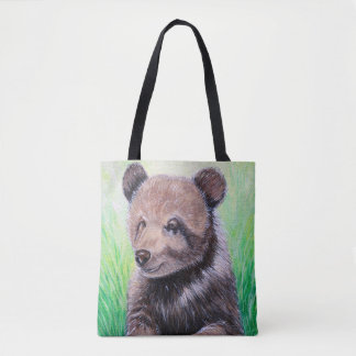 Baby Grizzly Bear Painting Tote Bag