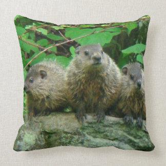 Baby Groundhogs - Woodchucks - Grundsows Throw Pillow