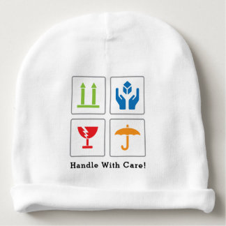 "Baby ""Handle with care"" Cotton Beanie Baby Beanie"