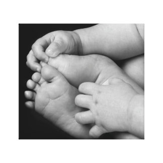 Baby Hands and Feet Black and White Canvas Print